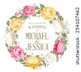 invitation card with floral... | Shutterstock .eps vector #254107462