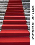 dirty red carpet leading up a... | Shutterstock . vector #25411306