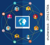social network flat...   Shutterstock .eps vector #254117506