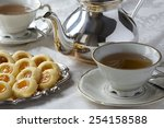 afternoon tea and biscuits in... | Shutterstock . vector #254158588