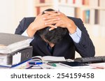 young stressed overwhelmed... | Shutterstock . vector #254159458