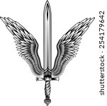 sword with wings | Shutterstock .eps vector #254179642