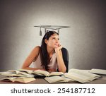 young student between books... | Shutterstock . vector #254187712