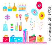 vector birthday elements. | Shutterstock .eps vector #25419739