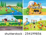 illustration of many children... | Shutterstock .eps vector #254199856