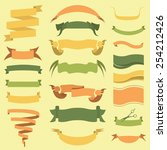 set of retro ribbons and arrows ... | Shutterstock .eps vector #254212426