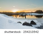 the river with the destroyed... | Shutterstock . vector #254213542