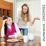 two sad girls having conflict... | Shutterstock . vector #254229352
