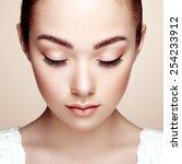 beautiful woman face. perfect... | Shutterstock . vector #254233912