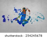 image with color silhouette of... | Shutterstock . vector #254245678