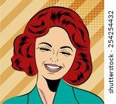 pop art cute retro woman in... | Shutterstock .eps vector #254254432