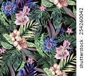 tropical floral print. variety... | Shutterstock . vector #254260042