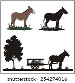 donkey with cart   vector