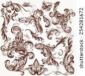 vector set of calligraphic...   Shutterstock .eps vector #254281672