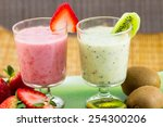 strawberry and kiwi smoothies | Shutterstock . vector #254300206