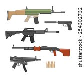 shooting weapons set. vector | Shutterstock .eps vector #254302732
