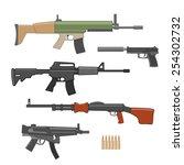 shooting weapons set. vector | Shutterstock .eps vector #254302732