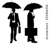 silhouettes of businessmen with ... | Shutterstock .eps vector #254306506