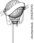 vintage balloon with ladder and ... | Shutterstock .eps vector #254329192