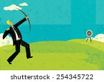 trying to hit the bull's eye a... | Shutterstock .eps vector #254345722