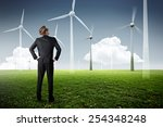 man planning wind power plants | Shutterstock . vector #254348248