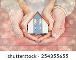 couple holding small model... | Shutterstock . vector #254355655