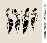 figures of african dancers.... | Shutterstock .eps vector #254369872