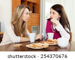 young woman comforting friend... | Shutterstock . vector #254370676