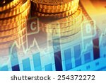 euro coins and us dollar... | Shutterstock . vector #254372272