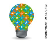 bulb idea of working with... | Shutterstock .eps vector #254373712