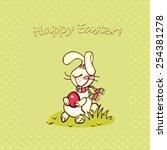 happy easter card. easter ... | Shutterstock .eps vector #254381278