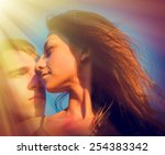 portrait of a couple of young... | Shutterstock . vector #254383342