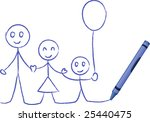 crayon drawing family   vector... | Shutterstock .eps vector #25440475