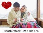 loving couple in winter wear... | Shutterstock . vector #254405476