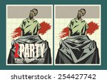 vector party poster. zombie... | Shutterstock .eps vector #254427742