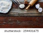 Baking Ingredients On Rustic...