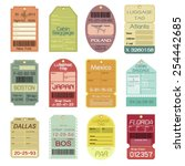 set of vintage luggage tags | Shutterstock .eps vector #254442685