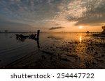 sunken boat with distant jetty... | Shutterstock . vector #254447722
