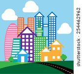 colorful city. | Shutterstock .eps vector #254462962
