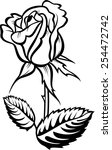 rose silhouette with stalk and... | Shutterstock .eps vector #254472742