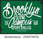 west campus  tee graphic | Shutterstock .eps vector #254474476