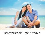 beautiful couple on the beach. | Shutterstock . vector #254479375