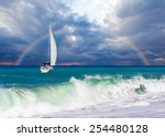 lonely boat against rainbow  | Shutterstock . vector #254480128