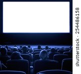 viewers watch motion picture at ... | Shutterstock . vector #254486158