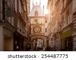 sunset view of the gros horloge ... | Shutterstock . vector #254487775