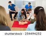 instructor demonstrating cpr... | Shutterstock . vector #254494252