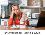 stressed young woman is doing... | Shutterstock . vector #254511226