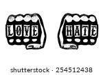 love and hate hands with brass... | Shutterstock .eps vector #254512438