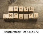 learn english text on a wooden... | Shutterstock . vector #254515672