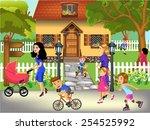 people walking on the street | Shutterstock .eps vector #254525992